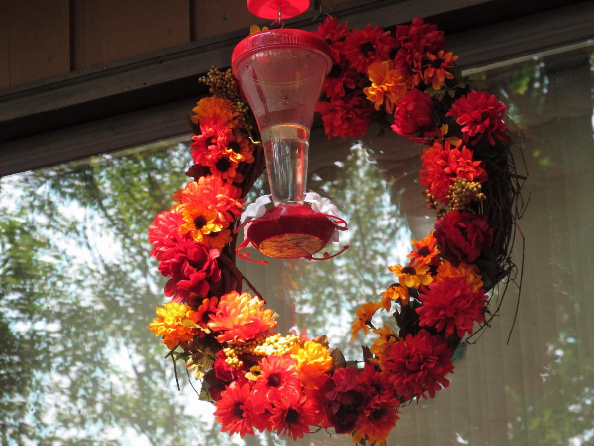 Autumn Hummingbird Feeder Wreath