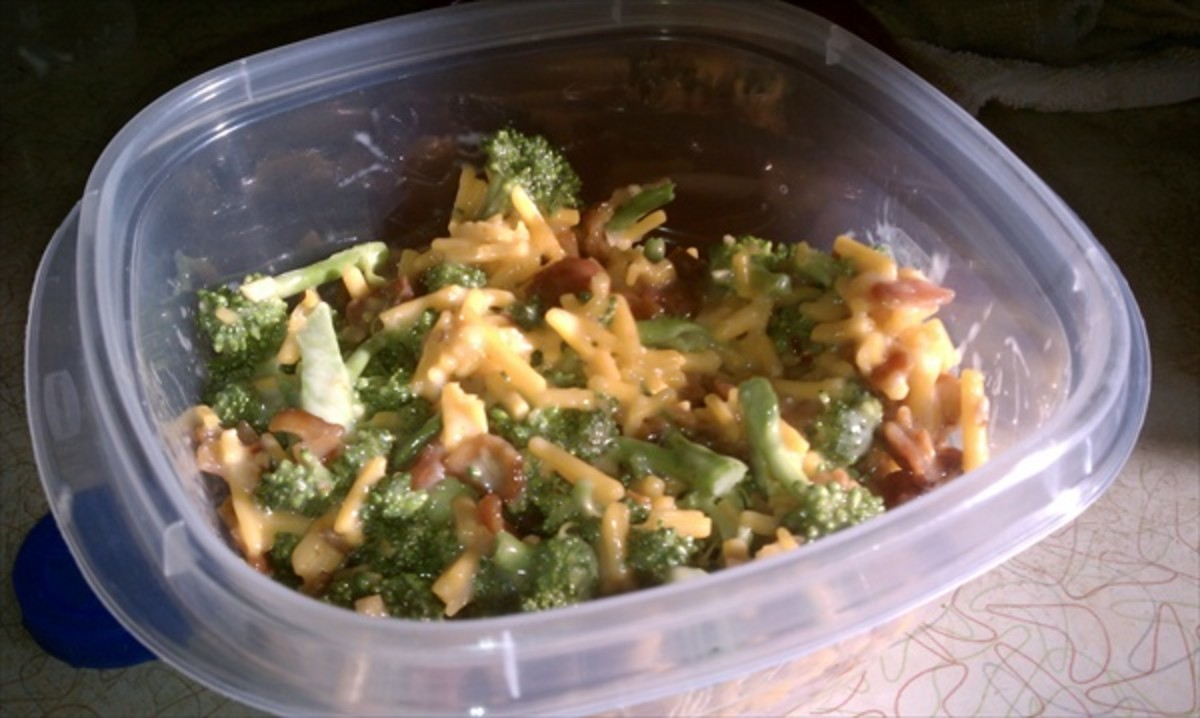 Broccoli Salad with Bacon, Mayo, Cheddar Cheese and Homemade Dressing