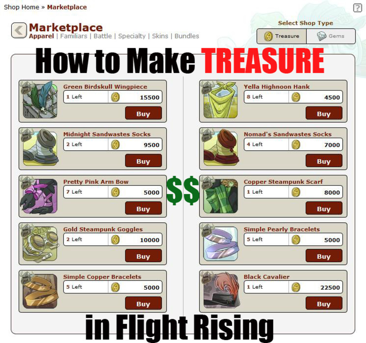 How to Make Treasure in Flight Rising