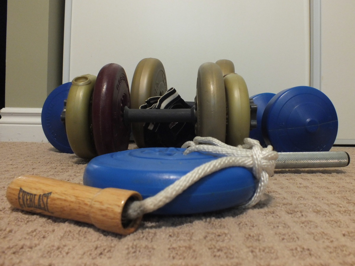 Wrist roller made from a dumbbell bar, an old jumping rope and a weight plate.