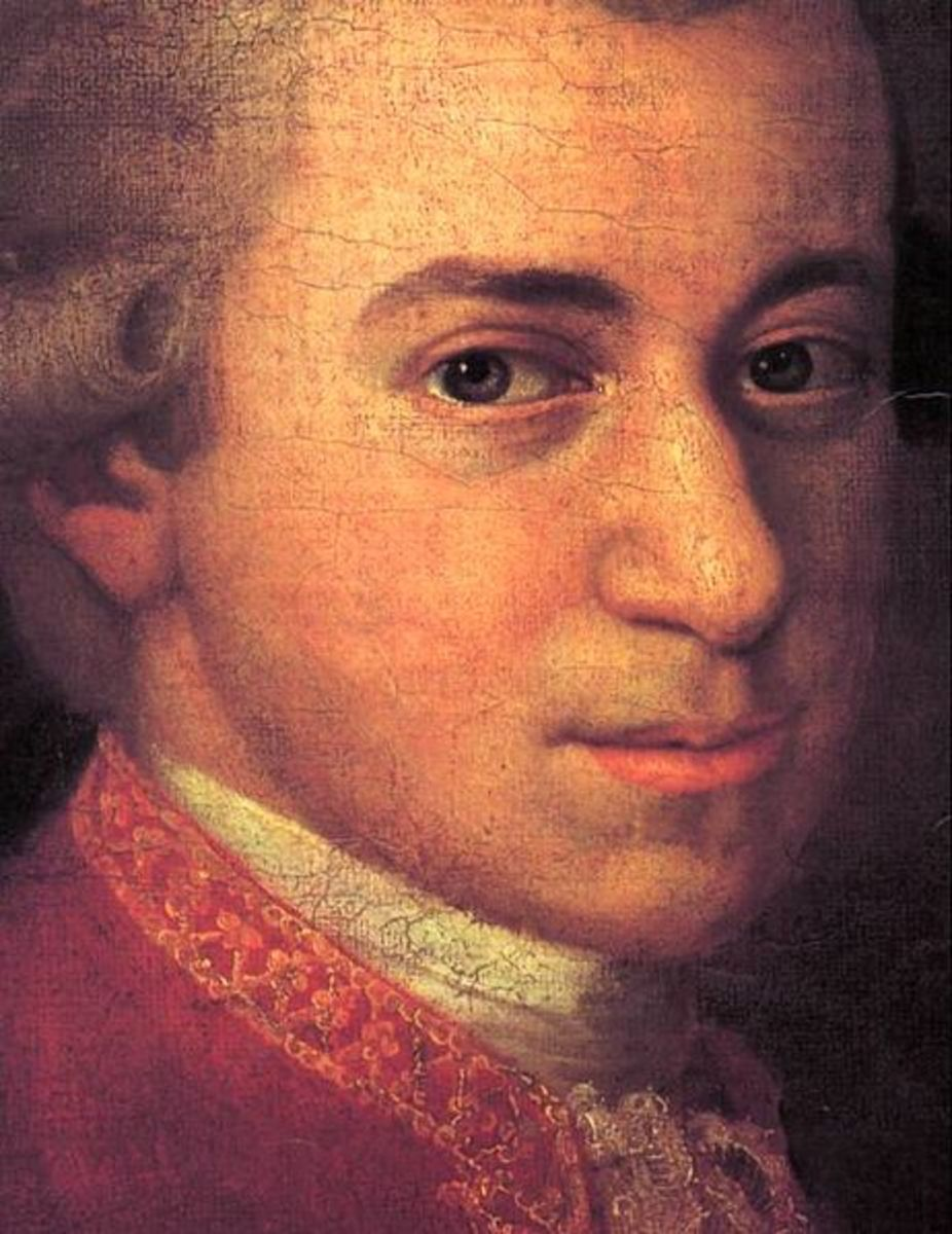Detail from a painting of W A Mozart