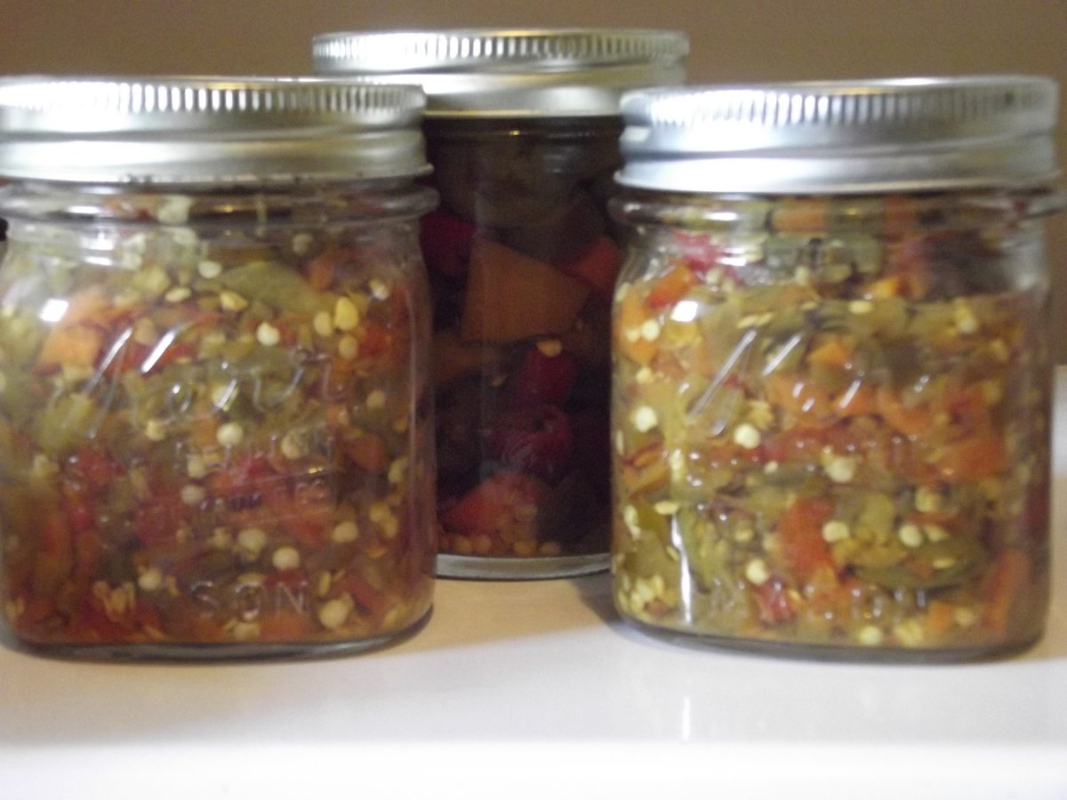 Right and Left: Hot Pepper Relish; Center: sliced hot peppers