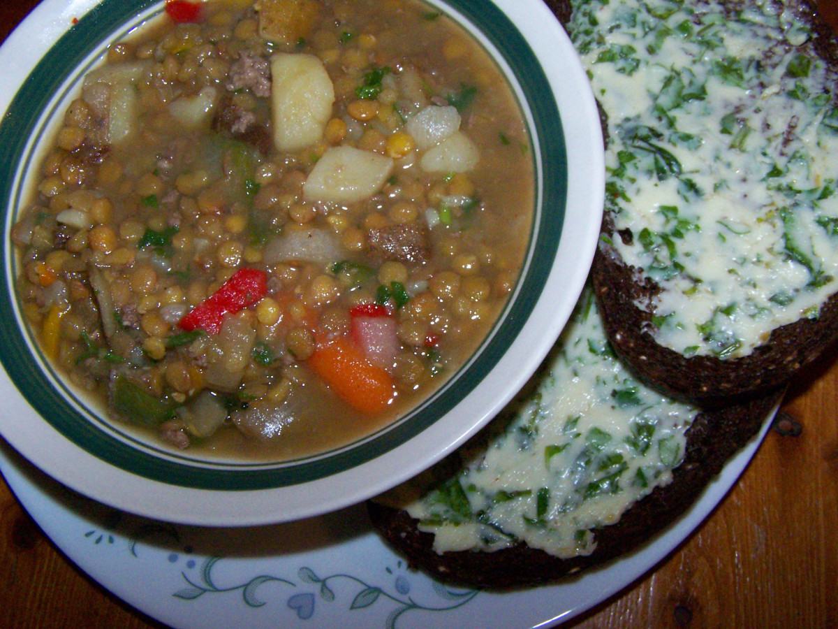 Here's a picture of my Mabon dinner: Autumn soup and pumpernickel bread with homemade herbal butter.