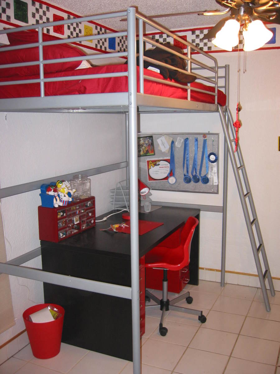 Lego border shows above loft bed and desk.