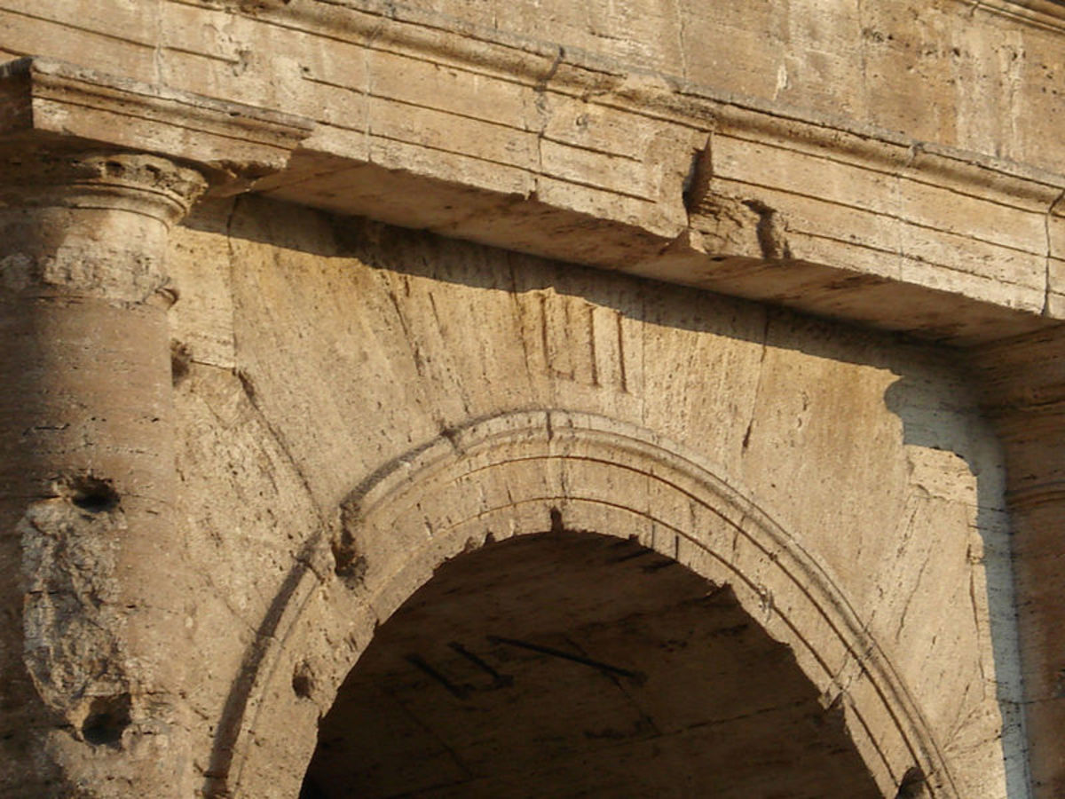 Roman Numerals Above the Entrance to the Colosseum in Rome