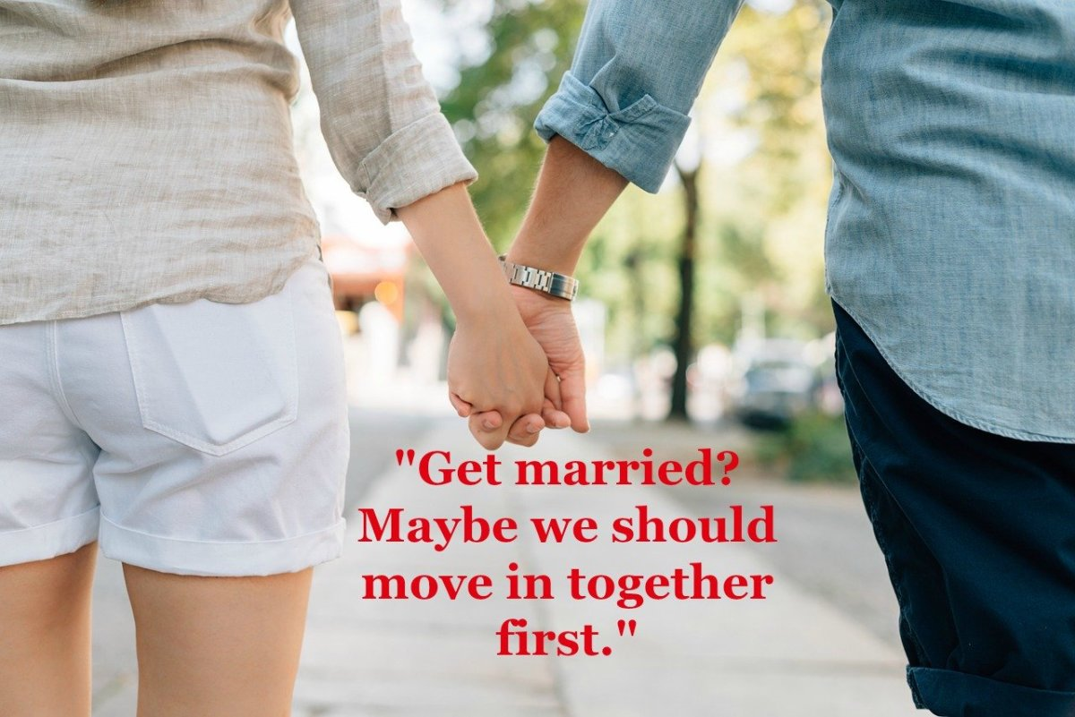 Couples ponder moving in together before marriage as a way to ensure that they will get along well and coexist successfully.