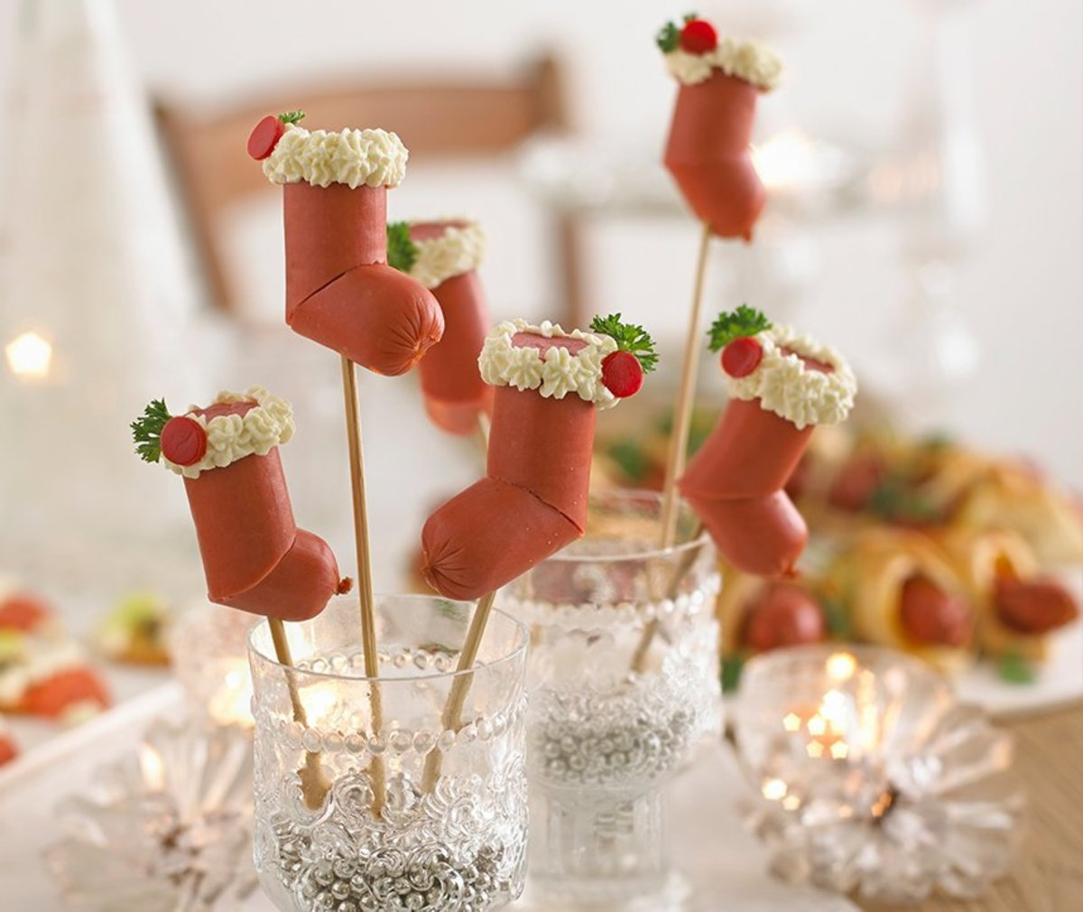 Party appetizers shaped like Christmas stockings.