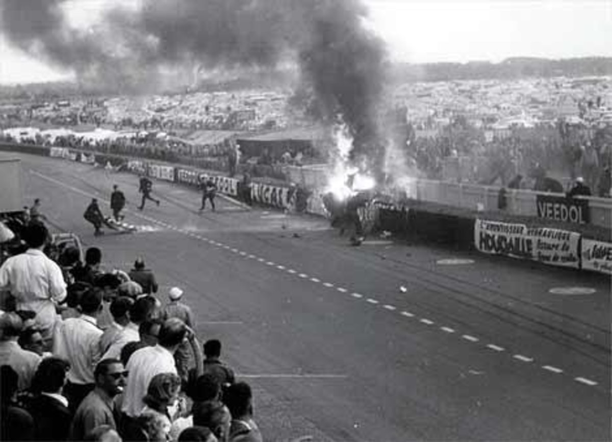Pierre Levegh cashes during 24 Hours of Le Mans in 1955.