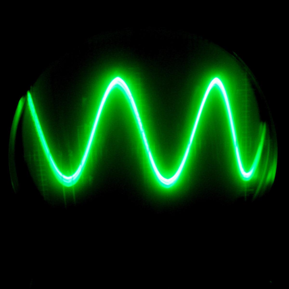 A sine wave from an oscillator.