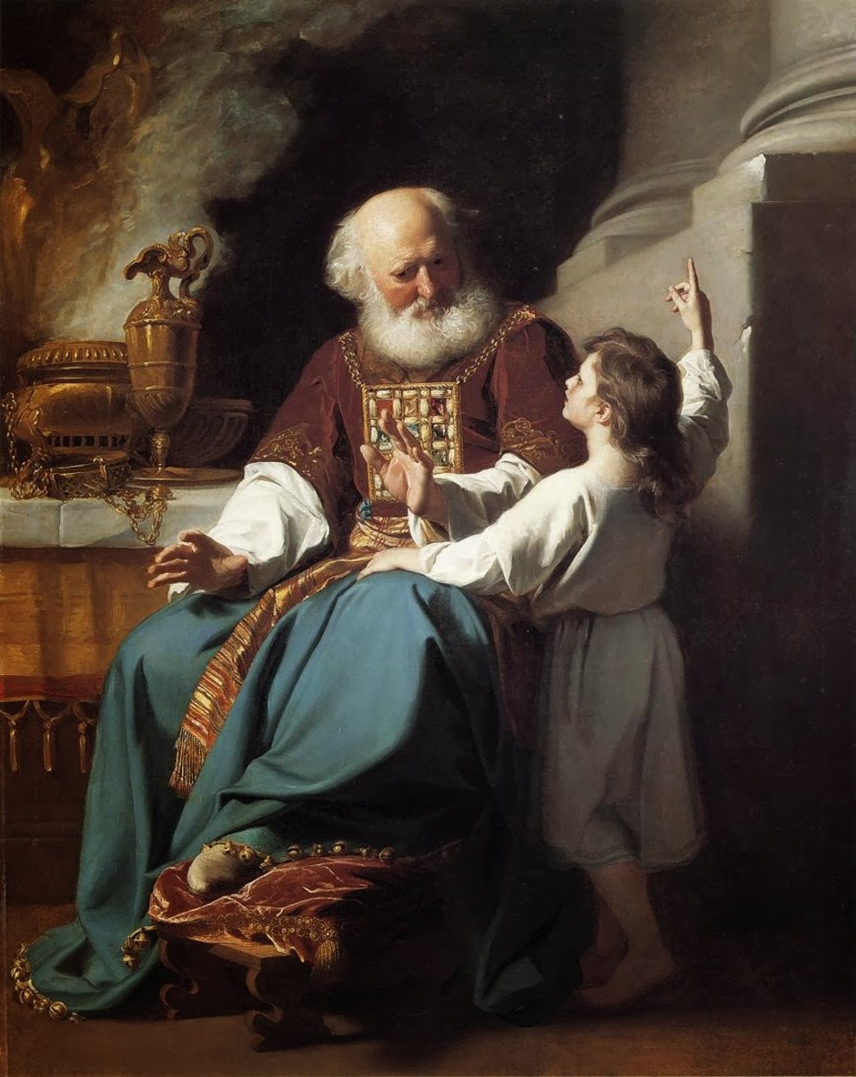 1780 Painting of Samuel Reading to Eli the Judgments of God Upon Eli's House