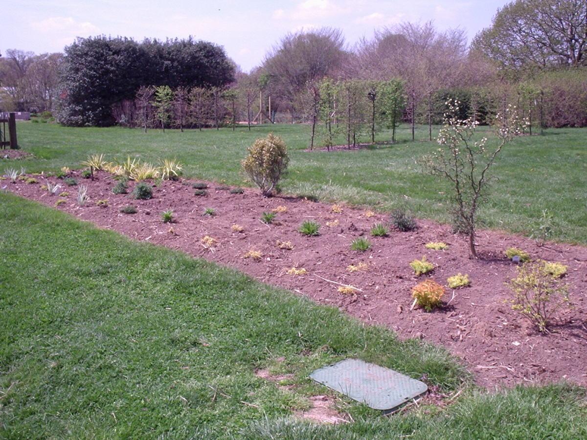 A newly planted perennial garden at Rutgers Gardens
