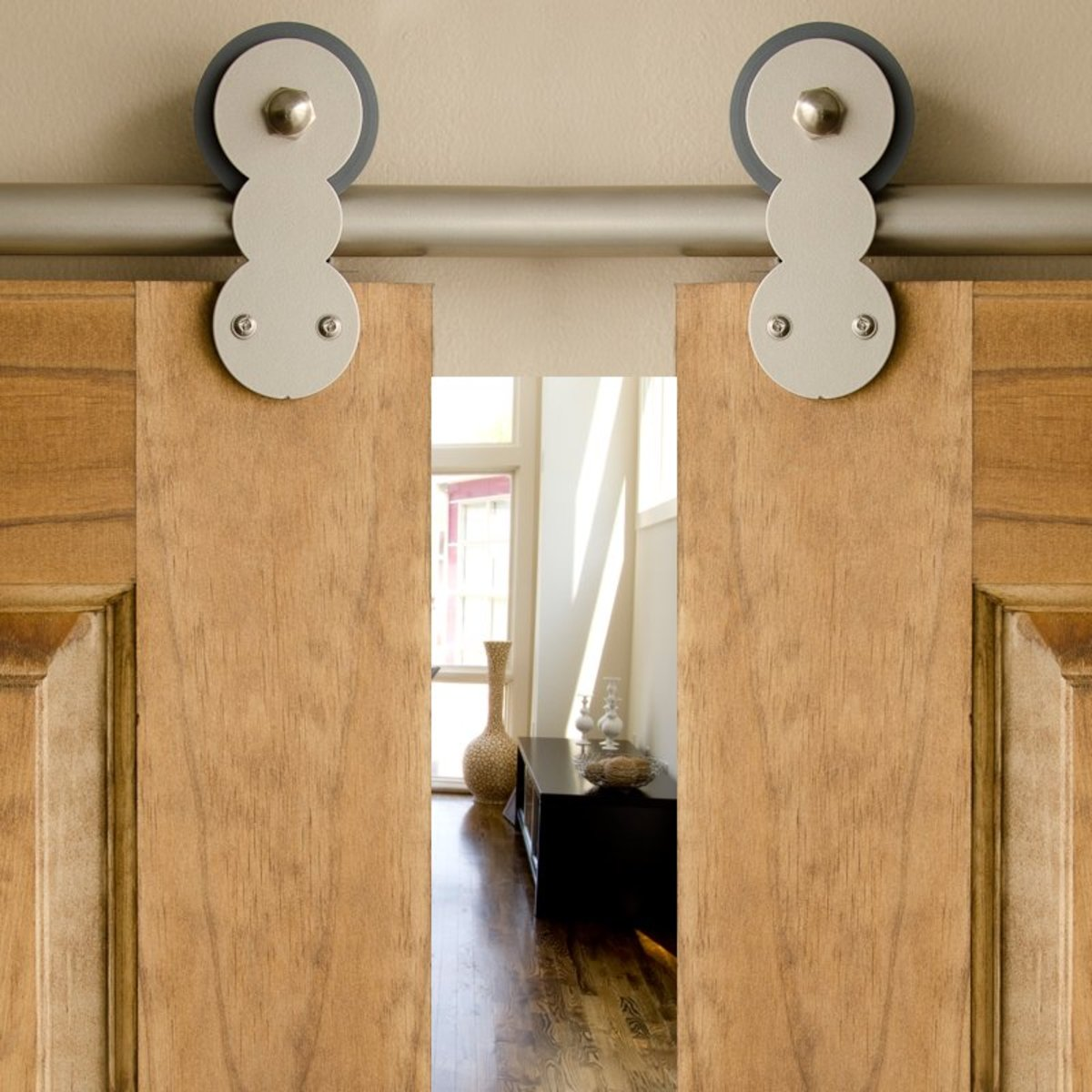 Double rolling barn door hardware