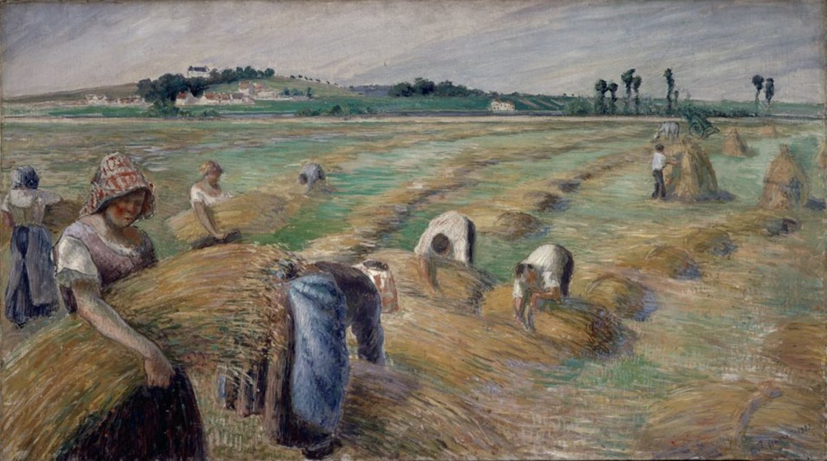 """The Harvest"" by Camille Pissarro, 1882. Oil on Canvas."