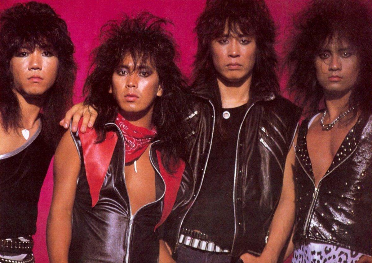 Loudness' classic lineup, L-R: Masayoshi Yamashita (bass), Minoru Niihara (vox), Munetaka Higuchi (drums), Akira Takasaki (guitar)