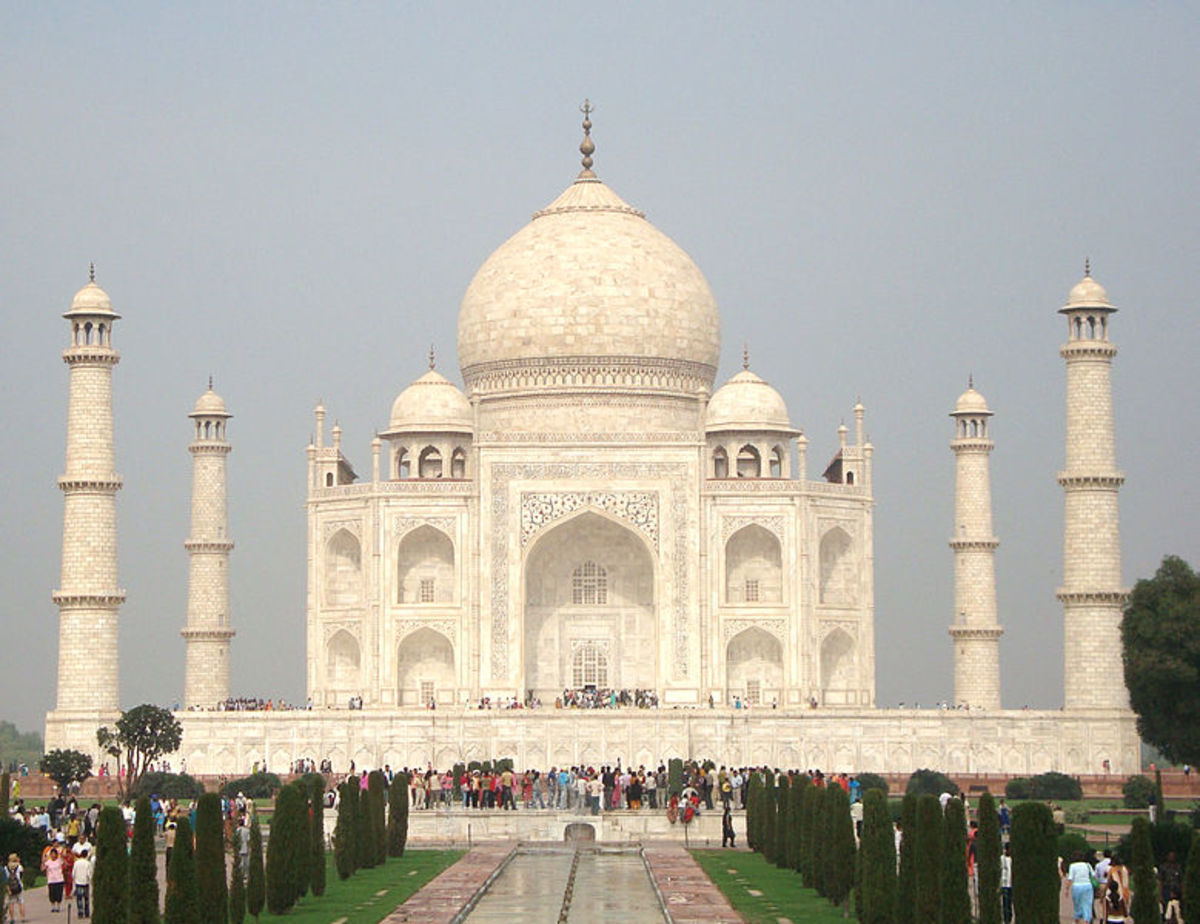 The Taj Mahal, on the bank of the Yamuna River in Agra, was built as a tomb by the Mughal emperor Shah Jahan for his beloved wife.