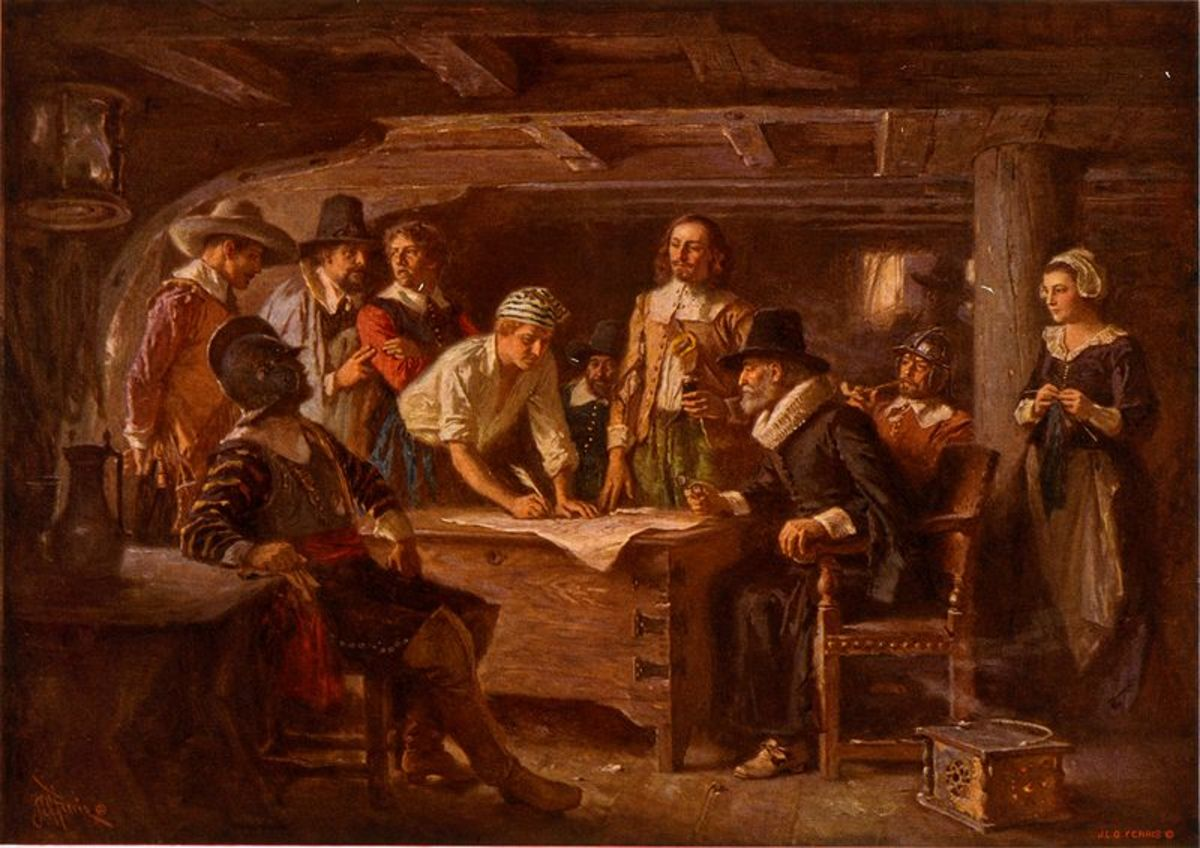 """Jean Leon Gerome Ferris' Painting """"The Mayflower Compact"""" 1620"""