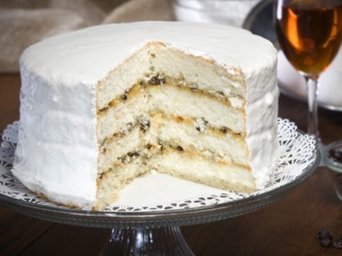 Lane Cake with frosting on sides and top