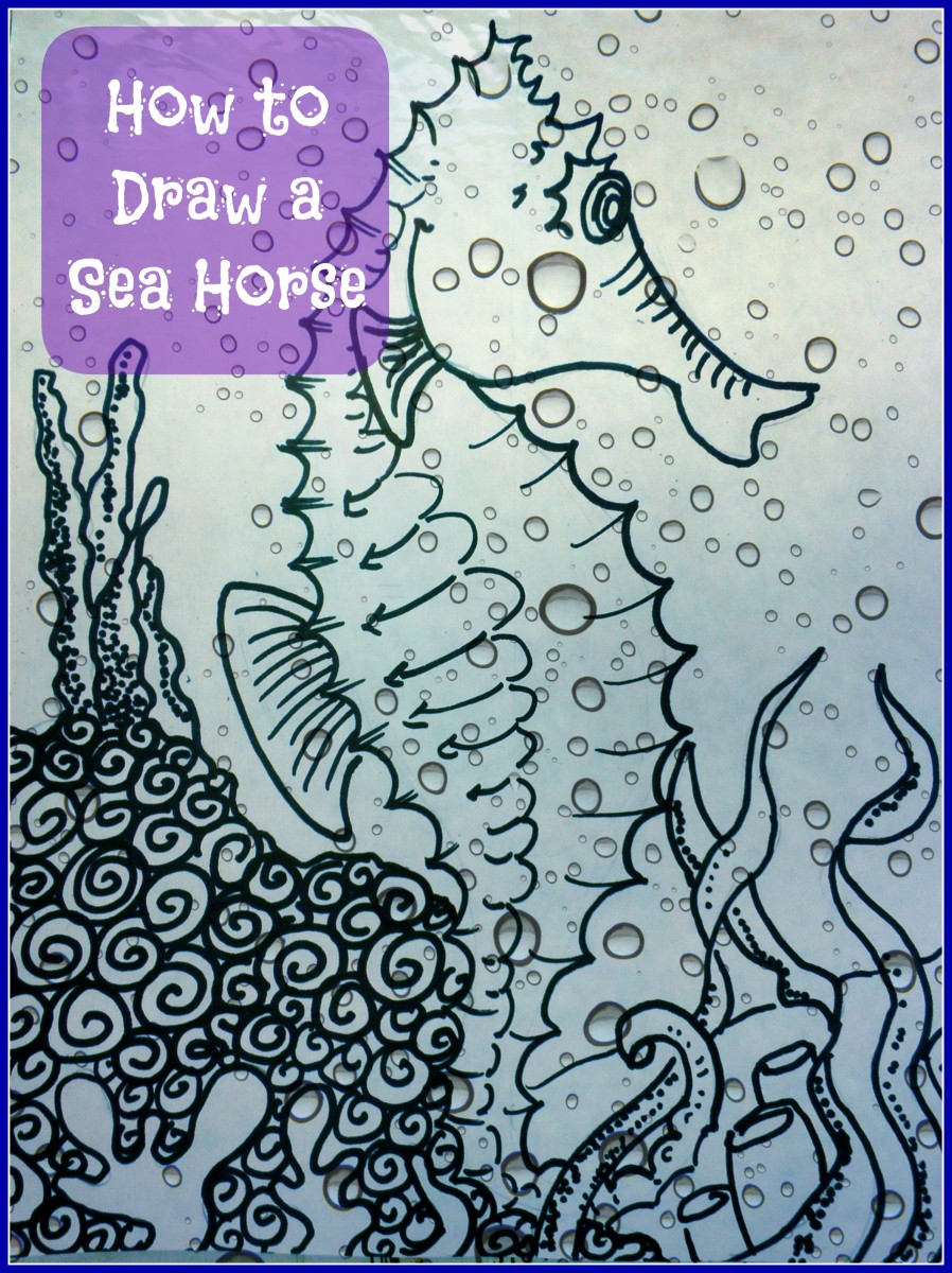 Step by step instruction art lesson: How to Draw a SeaHorse by art teacher Dorsi Diaz