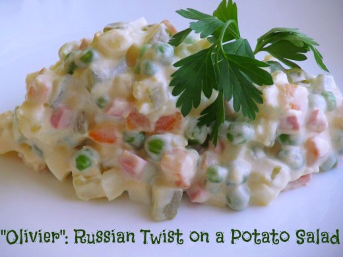"Russian salad ""Olivier"" is often made for holidays and special occasions. It can also be served at breakfast, lunch and dinner."