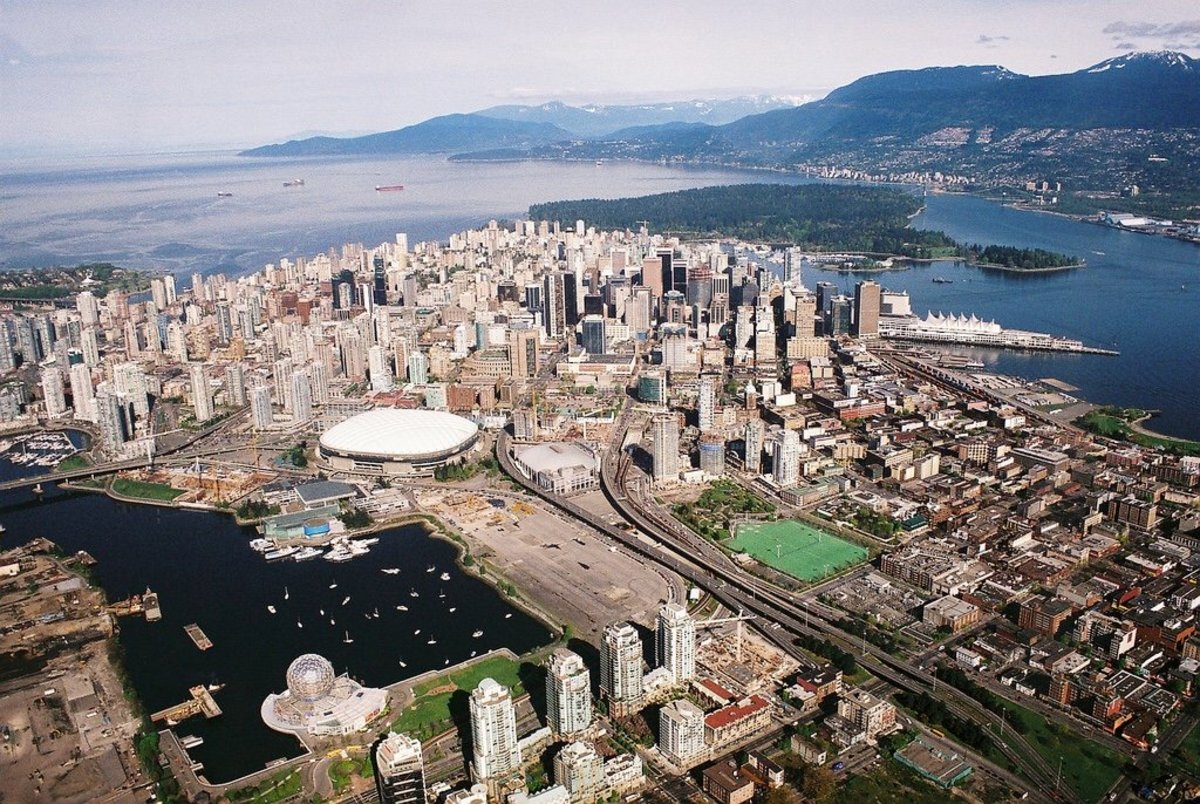 An aerial view of downtown Vancouver and Stanley Park