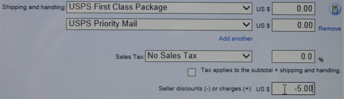 This is the eBay invoice form where a seller can issue a discount before a buyer pays for their purchases.