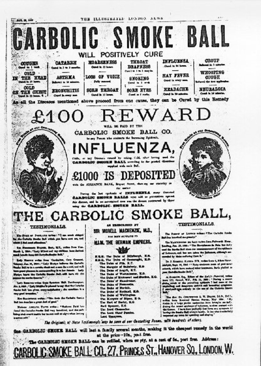 The poster the Smoke Ball Company used - the source of all the trouble!