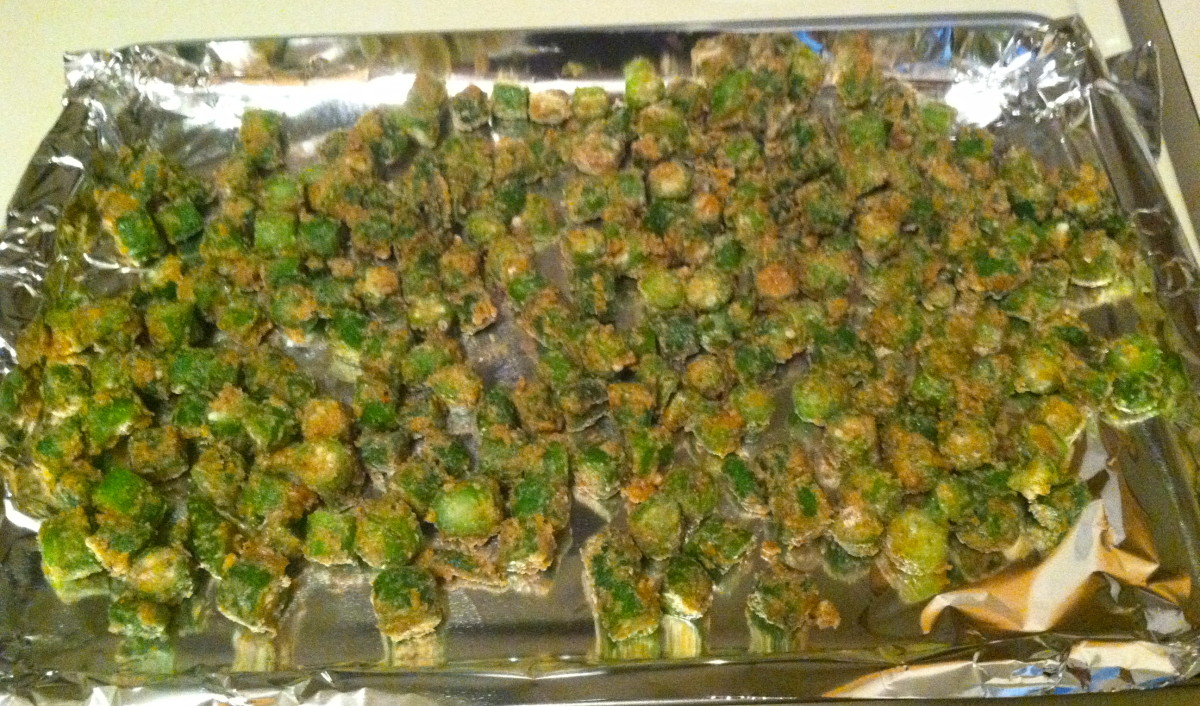 Oven-baked okra. It has batter similar to fried okra, but it's more nutritious!