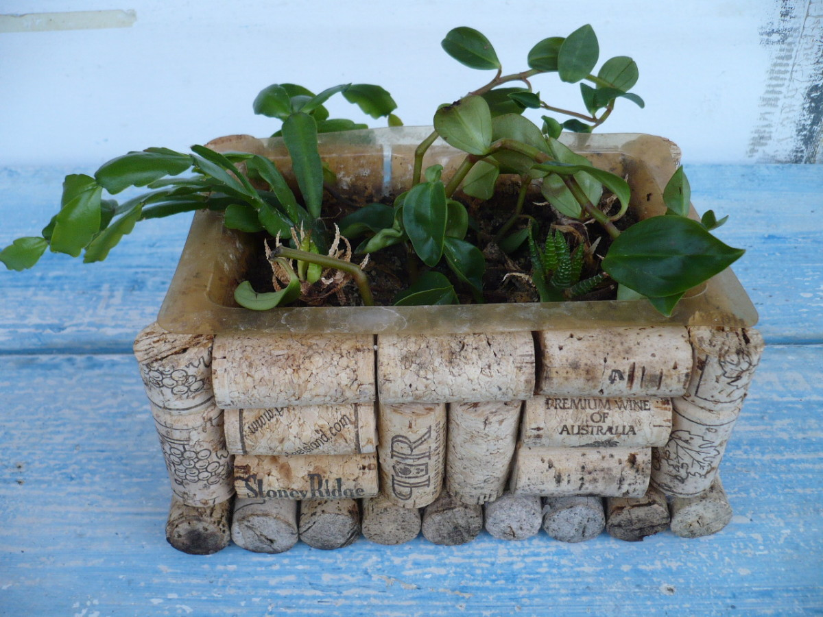 DIY Wine Cork Crafts Plant Container