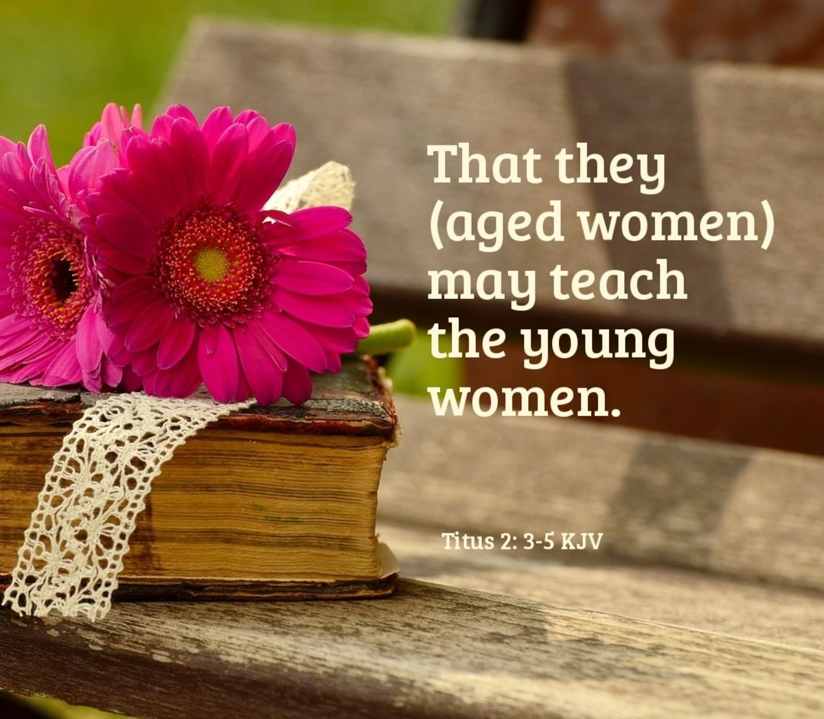 That they (aged women) may teach the young women. Titus 2: 3-5 KJV