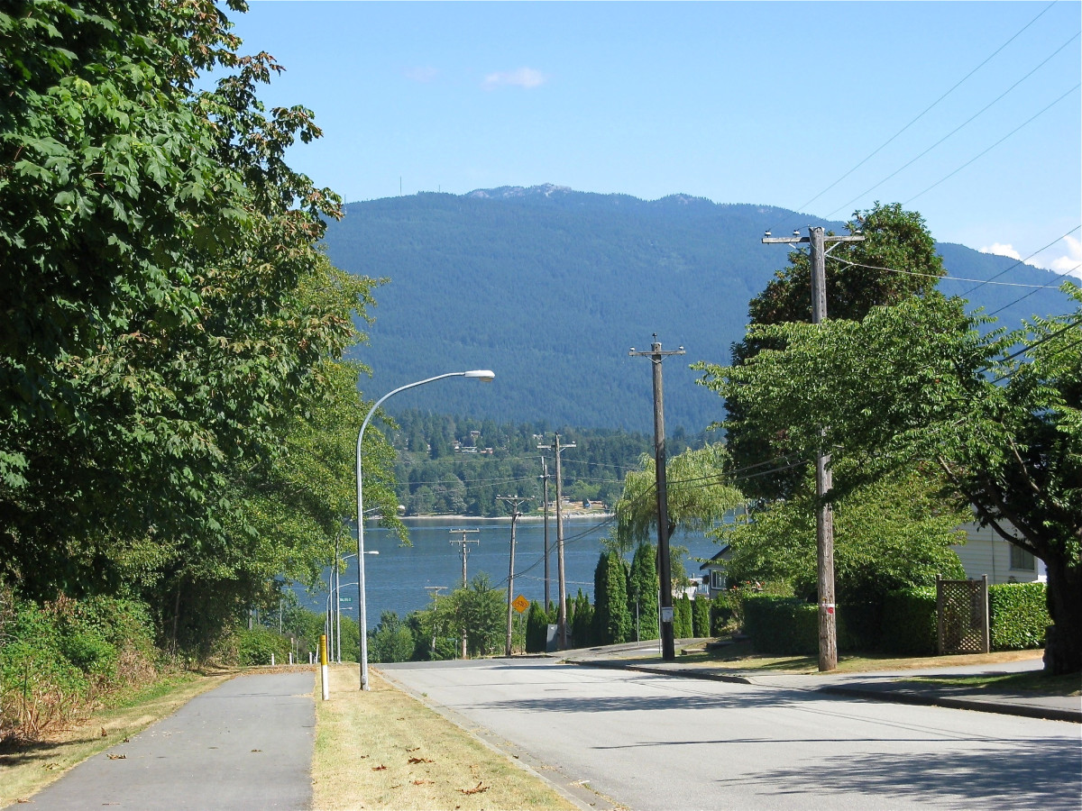 Looking along the Burnaby Mountain Urban Trail to Burrard Inlet