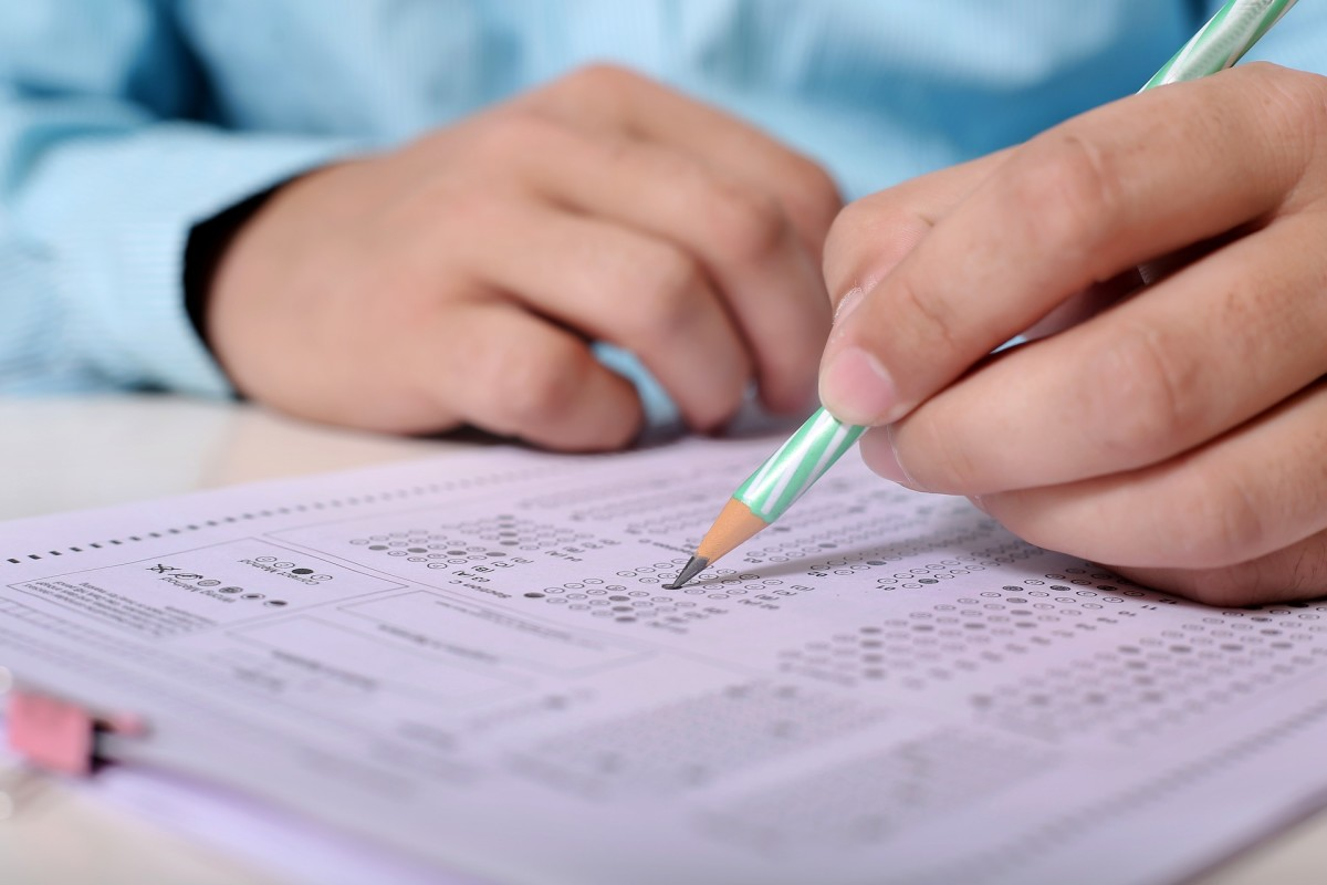 Some exams include multiple choice test papers.