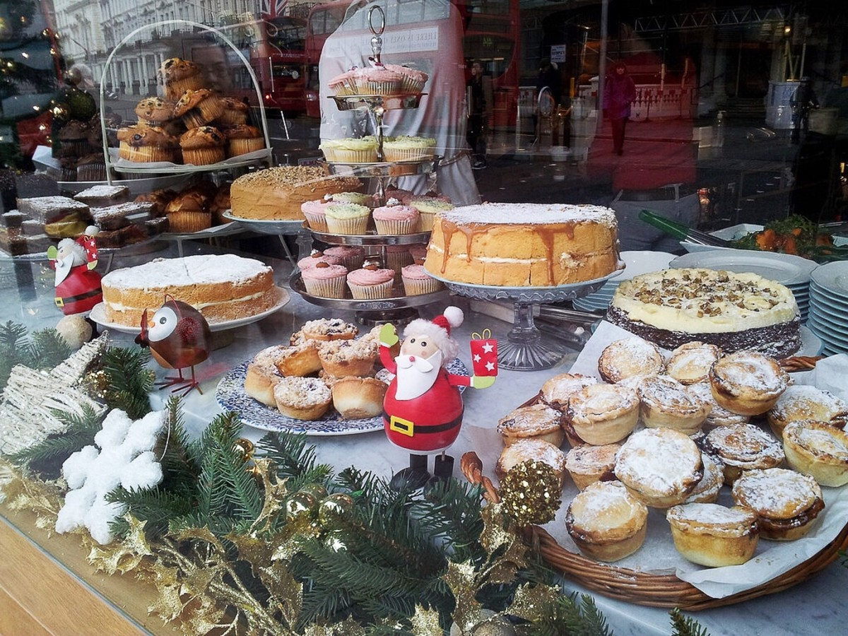 A Christmas Display With Mince Pies in the Foreground