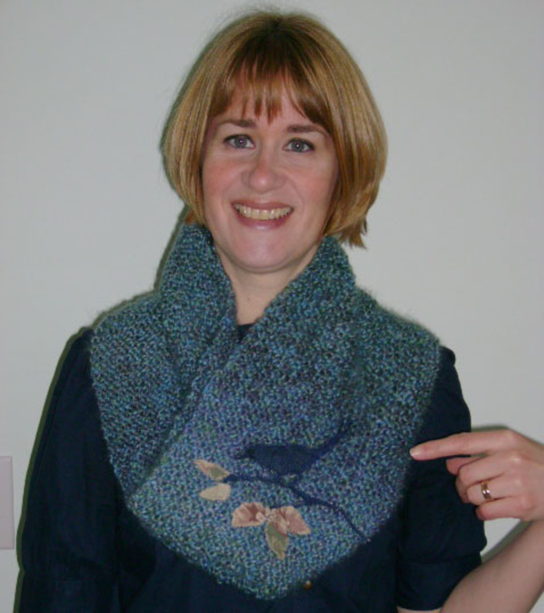Proudly wearing my first knitting project!