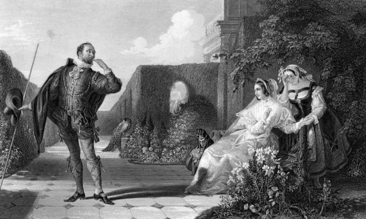 Malvolio courts a bemused Olivia, while Maria covers her amusement, in an engraving by R. Staines after a painting by Daniel Maclise.