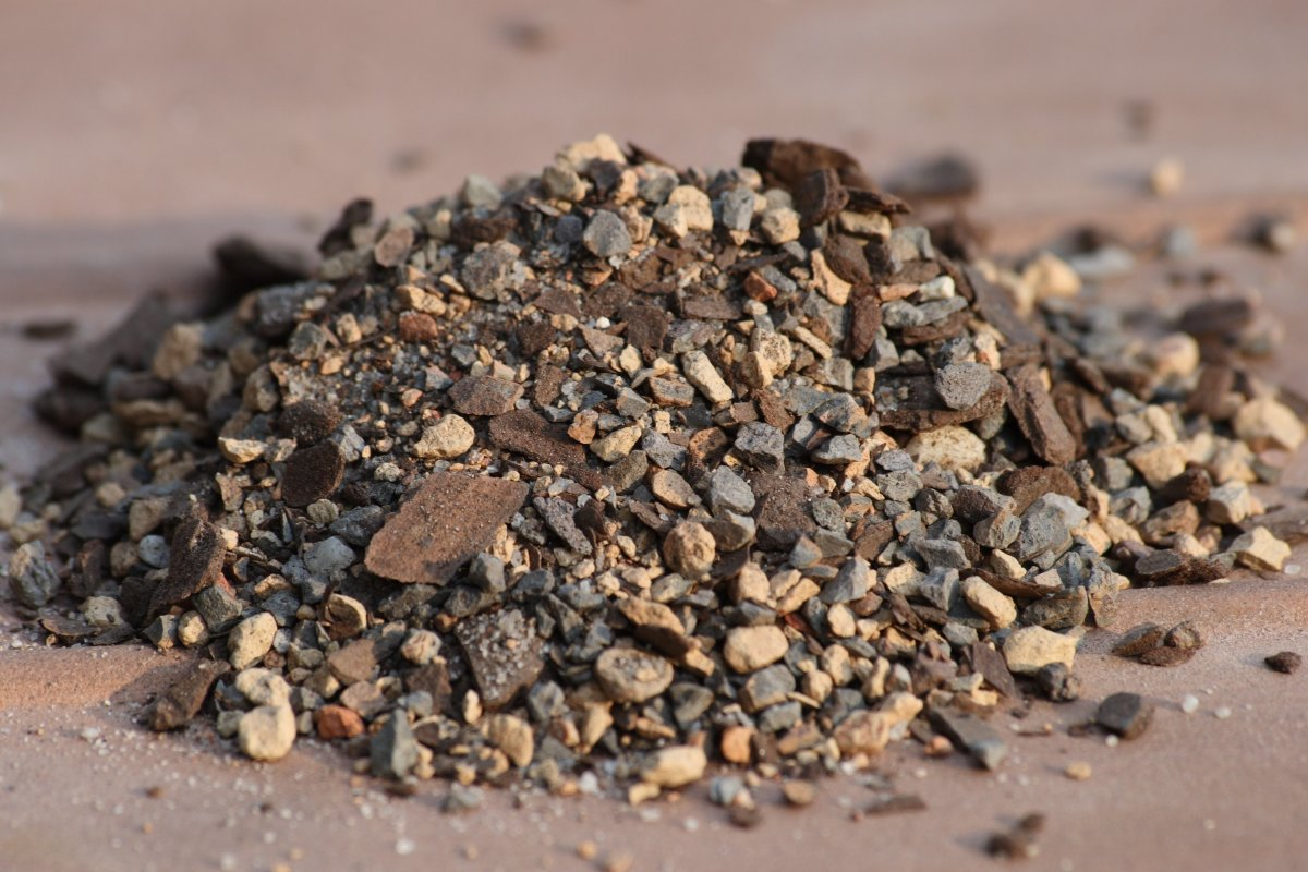 Bonsai soil comprised of various gritty material.