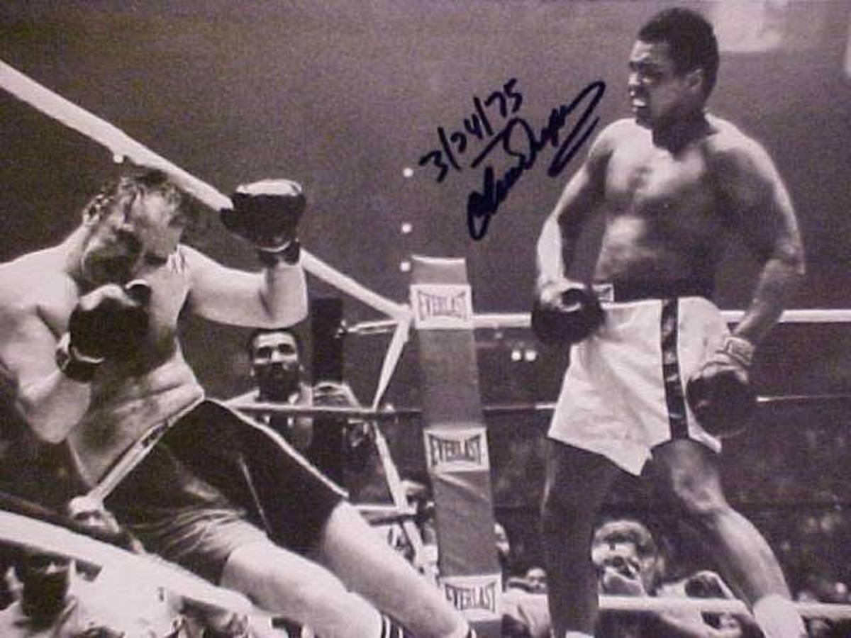 I wrote Chuck Wepner and he kindly sent me this autographed photo of the final moments during his championship bout with Ali.