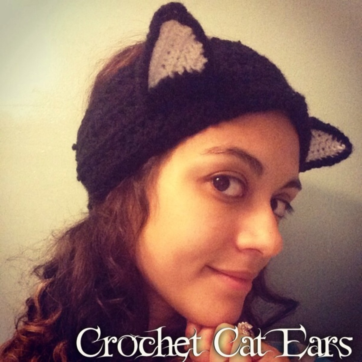 Crochet cat ears headband