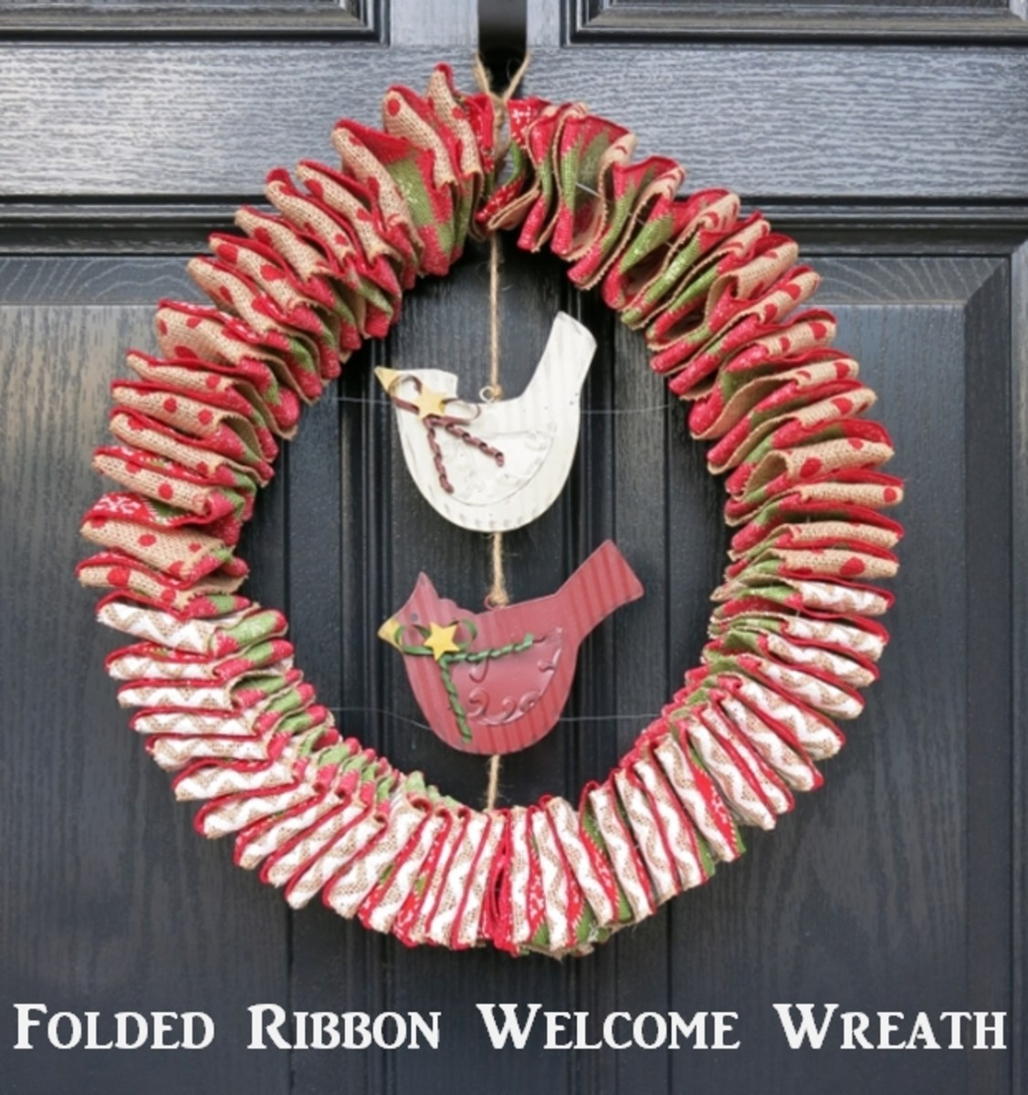 DIY Craft Decoration:  How to Make a Folded Ribbon Welcome Wreath