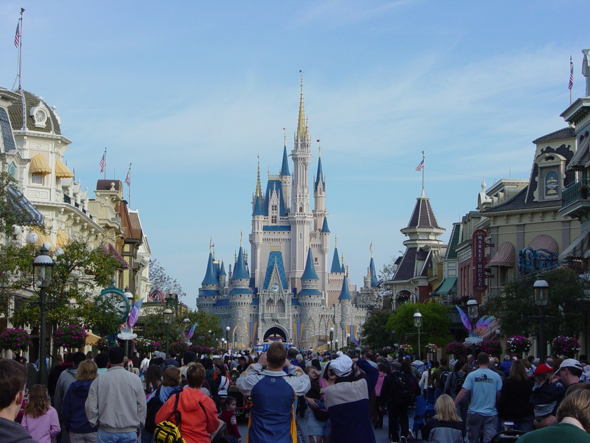 Cinderella's Castle at the Magic Kingdom as viewed from Main St USA