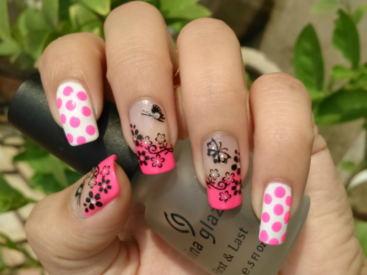 Hot Pink Polka Dots with Black 3D Decals for Nail Art