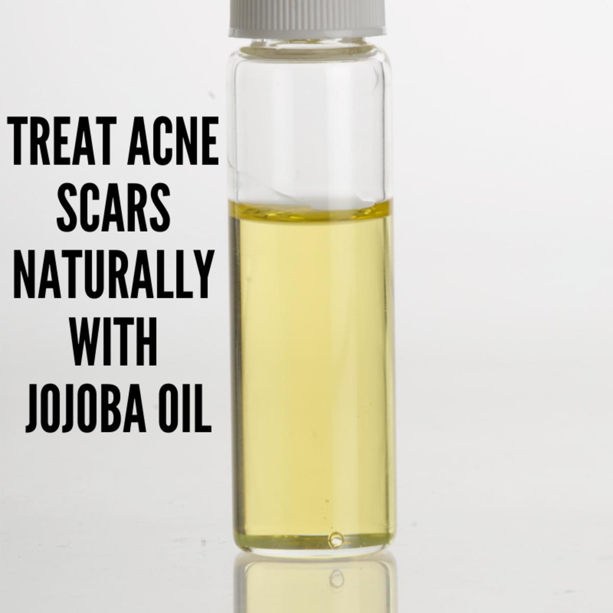 Glass vial containing jojoba oil.