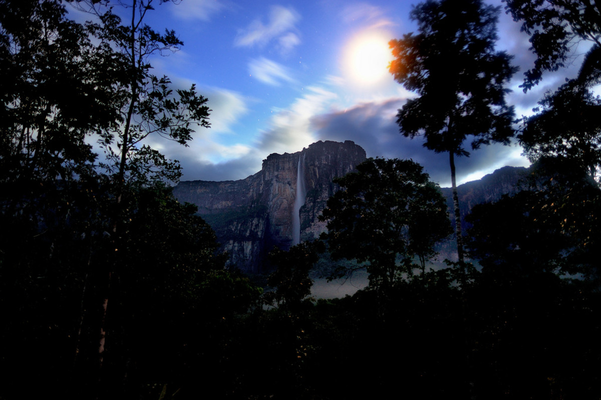 Moonrise over Angel Falls, Venezuela