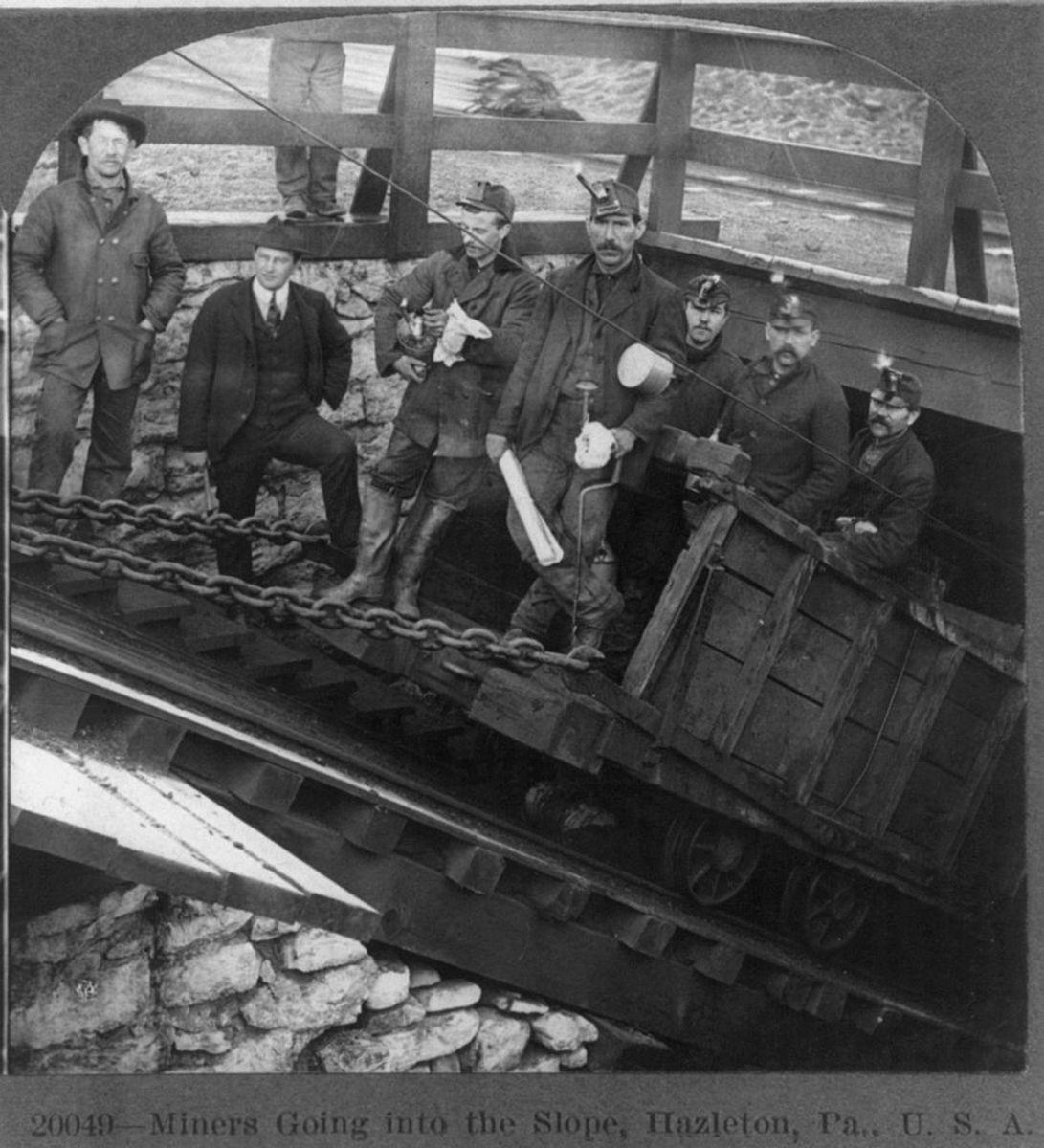 Coal miners in Hazelton, Pa c. 1905