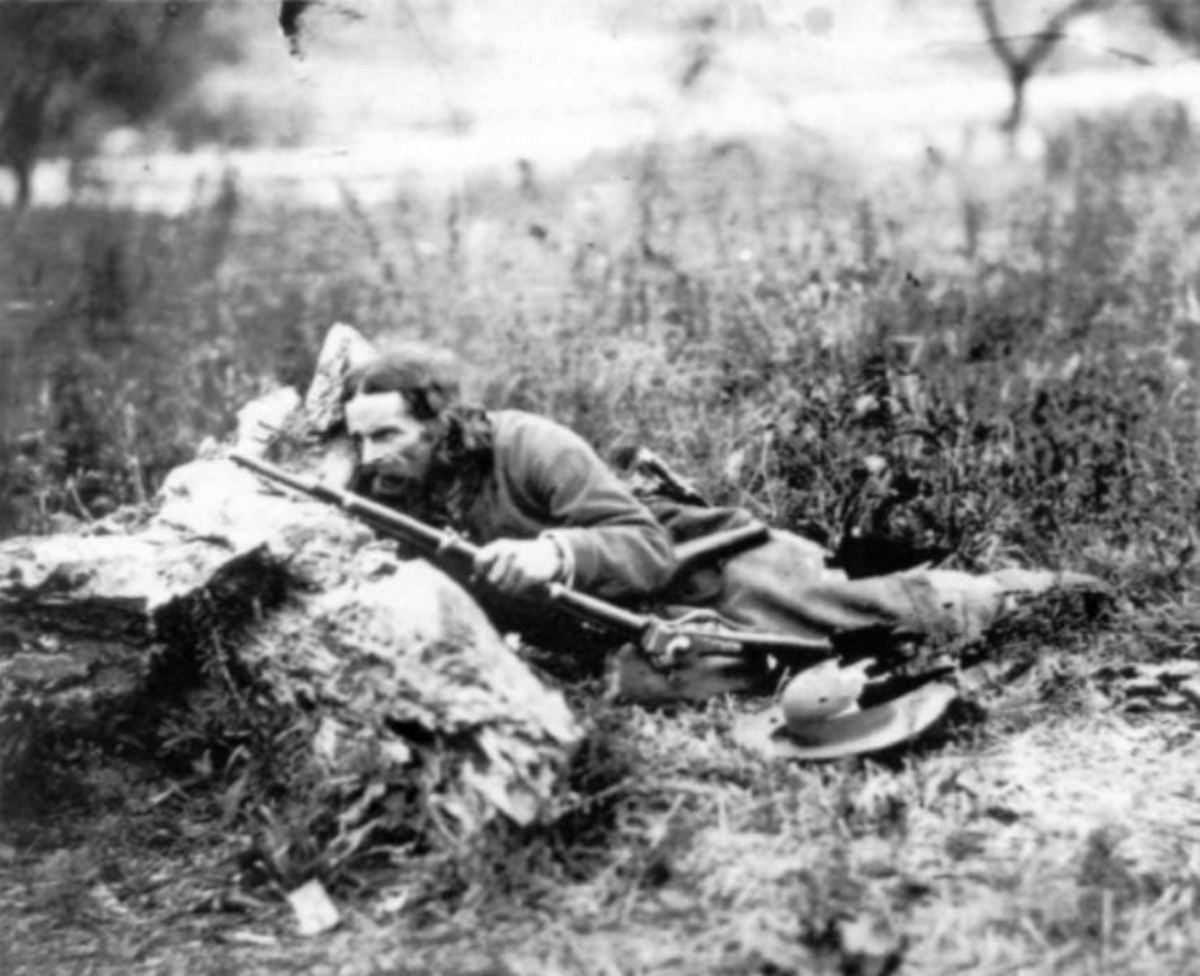 "Union Sharpshooter ""California Joe"" with his Sharps rifle, 1862"