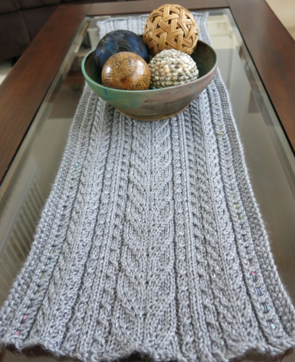 Free Knitting Pattern for Lace & Cables Table Runner