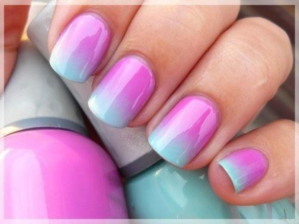 Ombre nails slowly shift from one color to another. They're surprisingly easy to do at home.