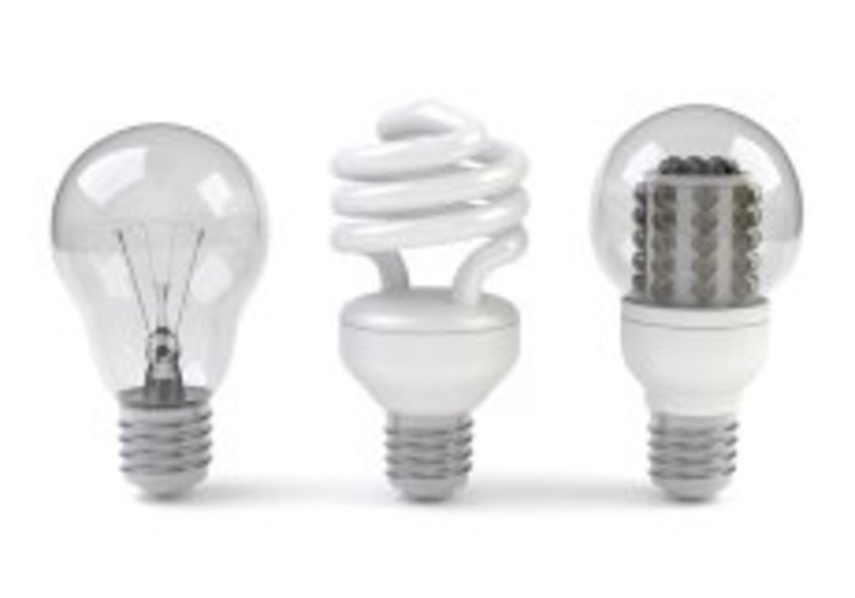 Halogen Incandescent, Fluorescent, and LED bulbs