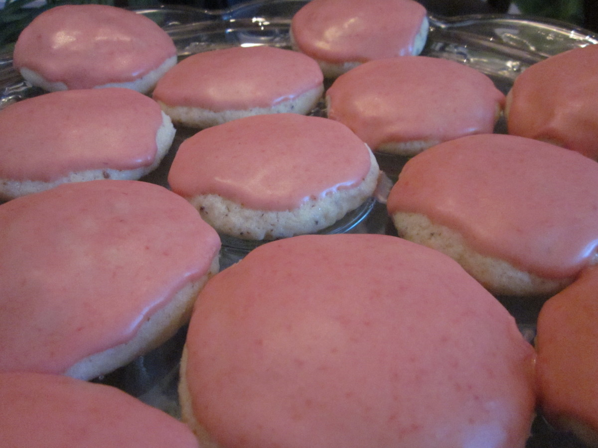 Lemon Cookies With Strawberry Icing