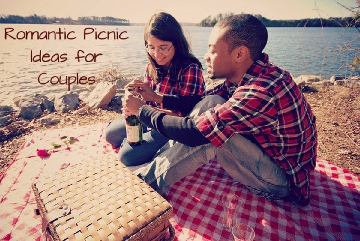 Romantic picnic ideas for couples. This couple is having a picnic by a lake.