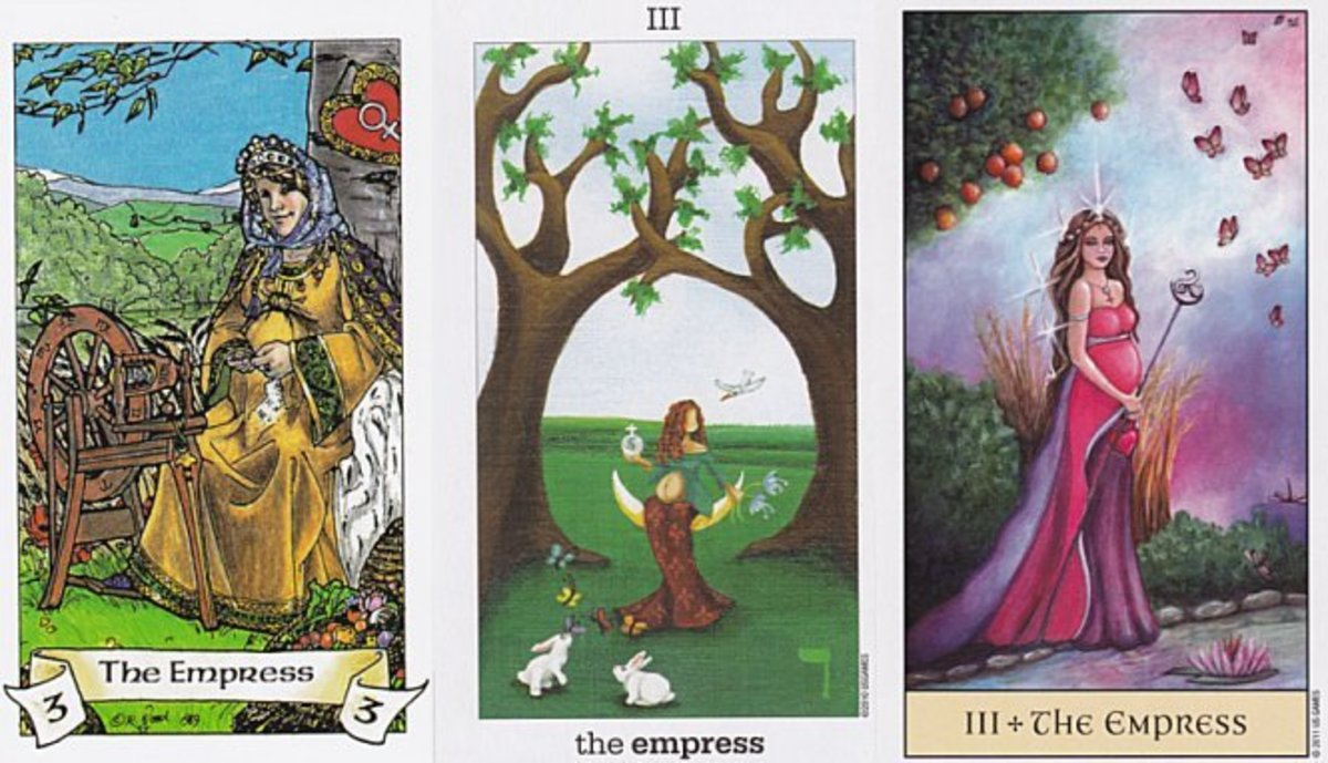 "All pictures are Tarot cards of the ""Empress."" Note that in the third, the woman is pregnant. The third picture is also thought to depict Aphrodite."